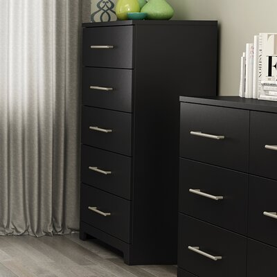 Primo 5 Drawer Chest Color: Black