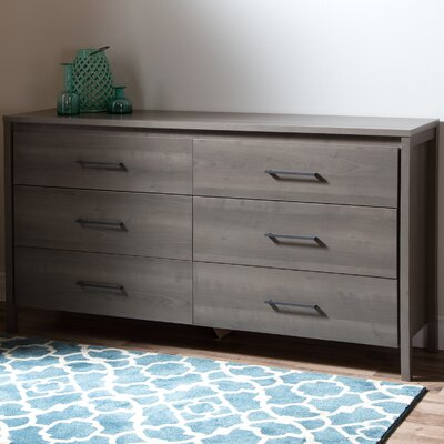 Gravity 6 Drawer Double Dresser Finish: Gray Maple