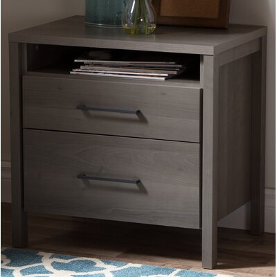 Gravity 2 Drawer Nightstand Finish: Gray Maple