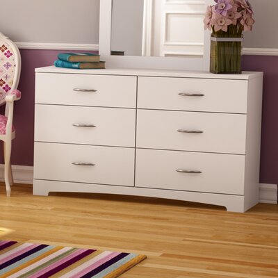 Step One 6 Drawer Double Dresser Finish: Pure White