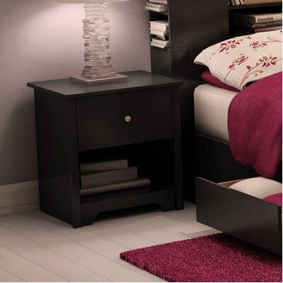 Vito 1 Drawer Nightstand Color: Pure Black
