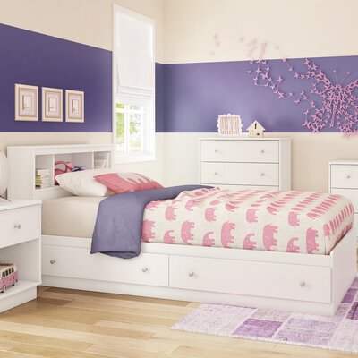Litchi Twin Mates Bed with Storage Finish: Pure White