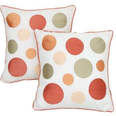 Coral and Orange Embroidered Throw Pillow