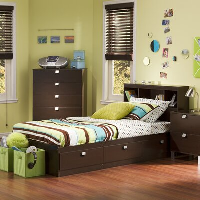 Spark Mates Bed with Drawers Size: Twin, Color: Chocolate
