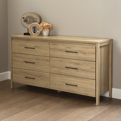 Gravity 6 Drawer Double Dresser Color: Rustic Oak
