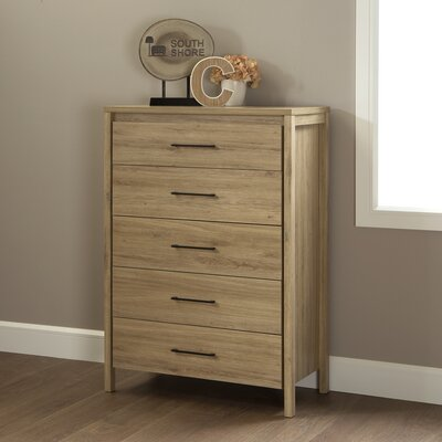 Gravity 5 Drawer Chest Color: Rustic Oak