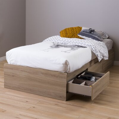 Fynn Twin Mates Bed with Storage Color: Rustic Oak