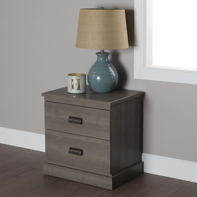 Abram 2 Drawer Nightstand Color: Gray Maple
