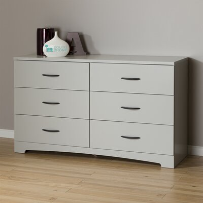 Step One 6 Drawer Double Dresser Color: Soft Gray