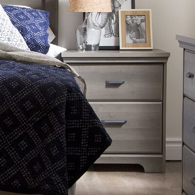 Versa 2 Drawer Nightstand Color: Gray Maple