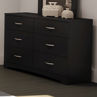Step One 6 Drawer Double Dresser Finish: Pure Black