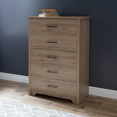 Fusion 5 Drawer Chest Color: Rustic Oak