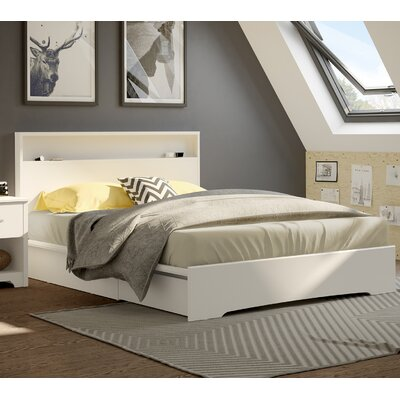 Basic Queen Storage Platform Bed Upholstery: Pure White