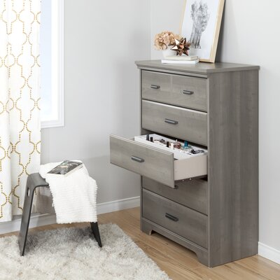 Versa 5 Drawer Chest Color: Gray Maple