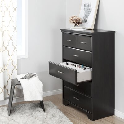 Versa 5 Drawer Chest Color: Ebony