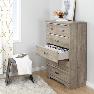 Versa 5 Drawer Chest Color: Weathered Oak