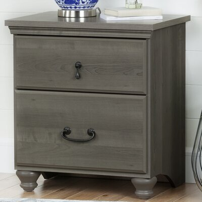 Noble 2 Drawer Nightstand Color: Gray Maple