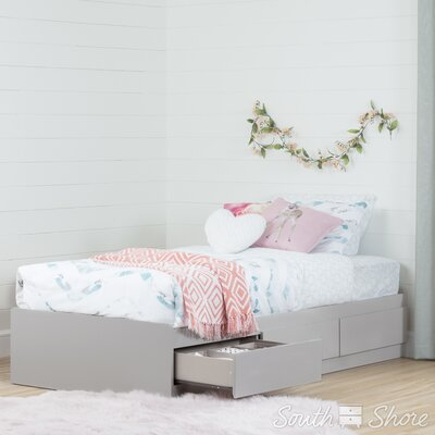 Twin Mates Bed with 3 Drawer Color: Soft Gray