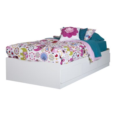 Twin Mates Bed with 3 Drawer Color: Pure White