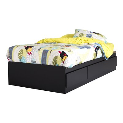 Twin Mates Bed with 3 Drawer Color: Pure Black