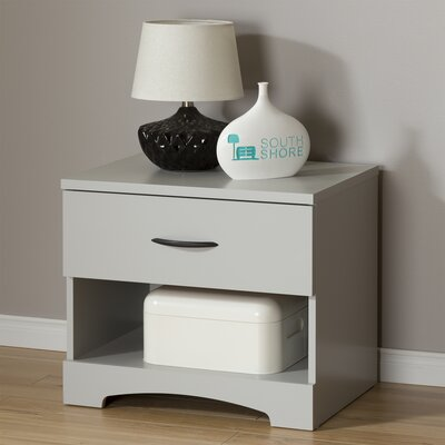 Step One 1 Drawer Nightstand Color: Soft Gray
