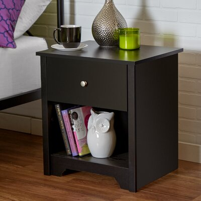 Vito 1 Drawer Nightstand in Pure Black