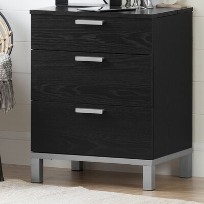 Flexible 3 Drawer Nightstand Color: Black Oak