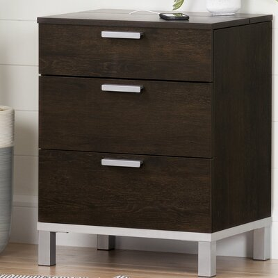 Flexible 3 Drawer Nightstand Color: Brown Oak