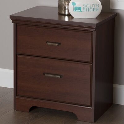 Versa 2 Drawer Nightstand Color: Royal Cherry