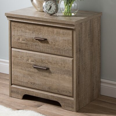 Versa 2 Drawer Nightstand Color: Weathered Oak