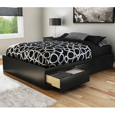 Step One Full/Double Storage Platform Bed Finish: Pure Black