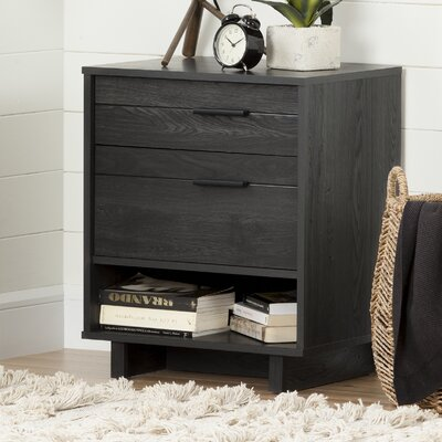 Fynn 2 Drawer Nightstand Finish: Gray Oak