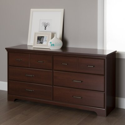 Versa 6 Drawer Double Dresser Color: Royal Cherry