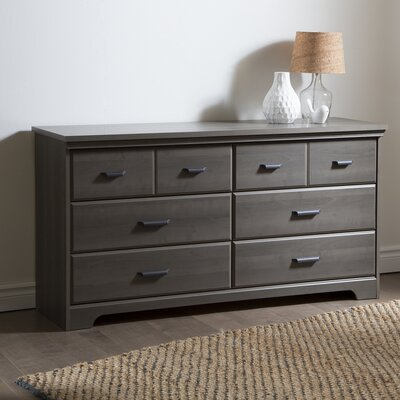Versa 6 Drawer Double Dresser Color: Gray
