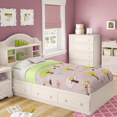 Savannah Twin Mates & Captains Bed with 3 Drawers Color: Pure White
