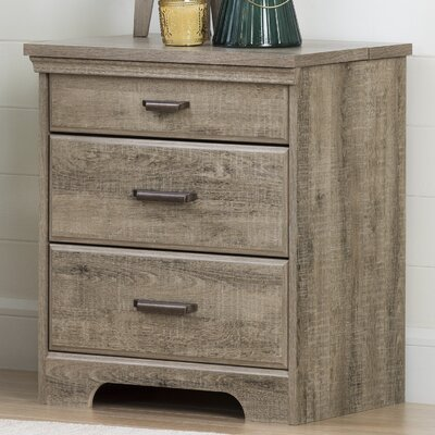Versa 3 Drawer Nightstand with Charging Station Color: Weathered Oak