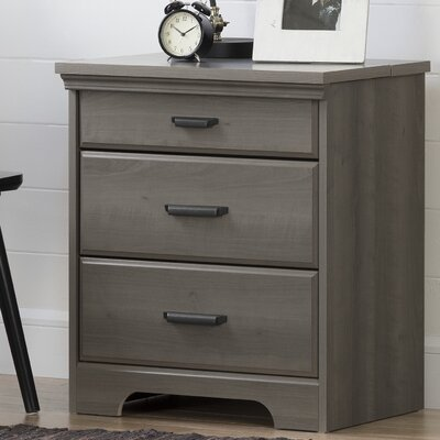 Versa 3 Drawer Nightstand with Charging Station Color: Gray Maple