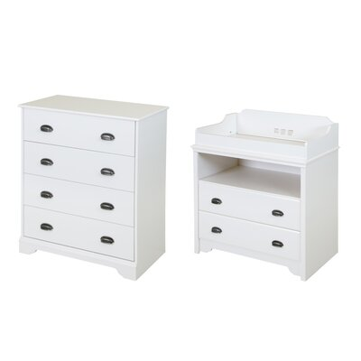 Fundy Tide Changing Table and 4 Drawer Chest Set Color: Pure White 9023A2