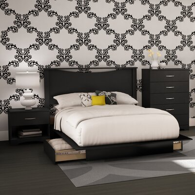Step One Platform 4 Piece Bedroom Set Finish: Pure Black