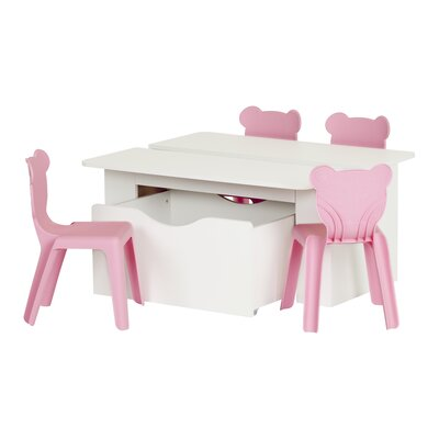Crea Activity Plastic Kids 5 Piece Square Table and Chair Set Color: Pure White/Pink 100203