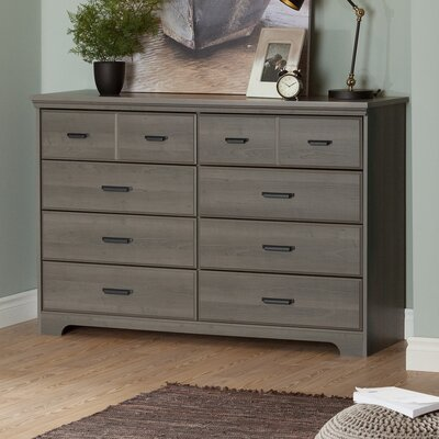 Versa 8 Drawer Double Dresser Color: Gray Maple