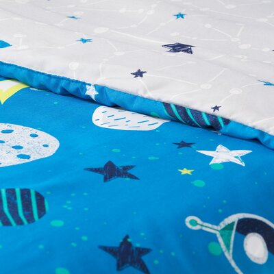 Cosmos Twin Mate's Bed with Cosmic Comforter and Pillowcase