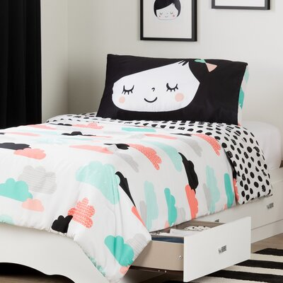 Tiara Twin Mate's Bed with Night Garden Comforter and Pillowcase