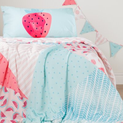 DreamIt Watermelons and Dots Twin Reversible Comforter Set with Pennant Banner