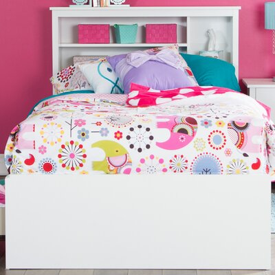 Vito Twin Mates Bed with Bookcase Headboard Bed Frame Color: Pure White