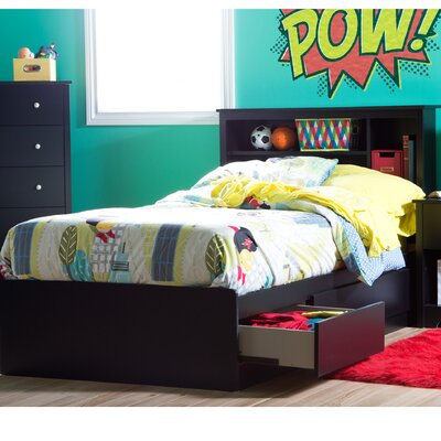 Vito Twin Mates Bed with Bookcase Headboard Bed Frame Color: Pure Black