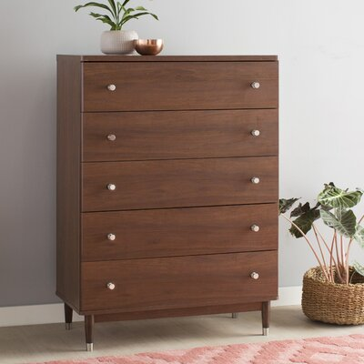 Olly Mid-Century Modern 5 Drawer Chest