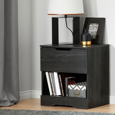 Holland 1 Drawer Nightstand Color: Gray Oak