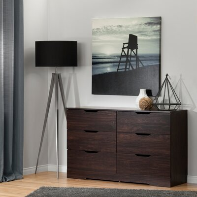 Holland 6 Drawer Double Dresser Color: Havana