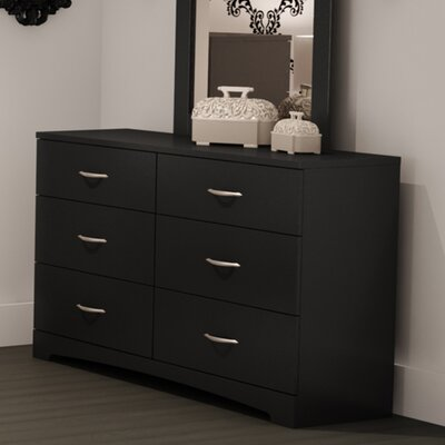 Step One 6 Drawer Double Dresser Color: Pure Black